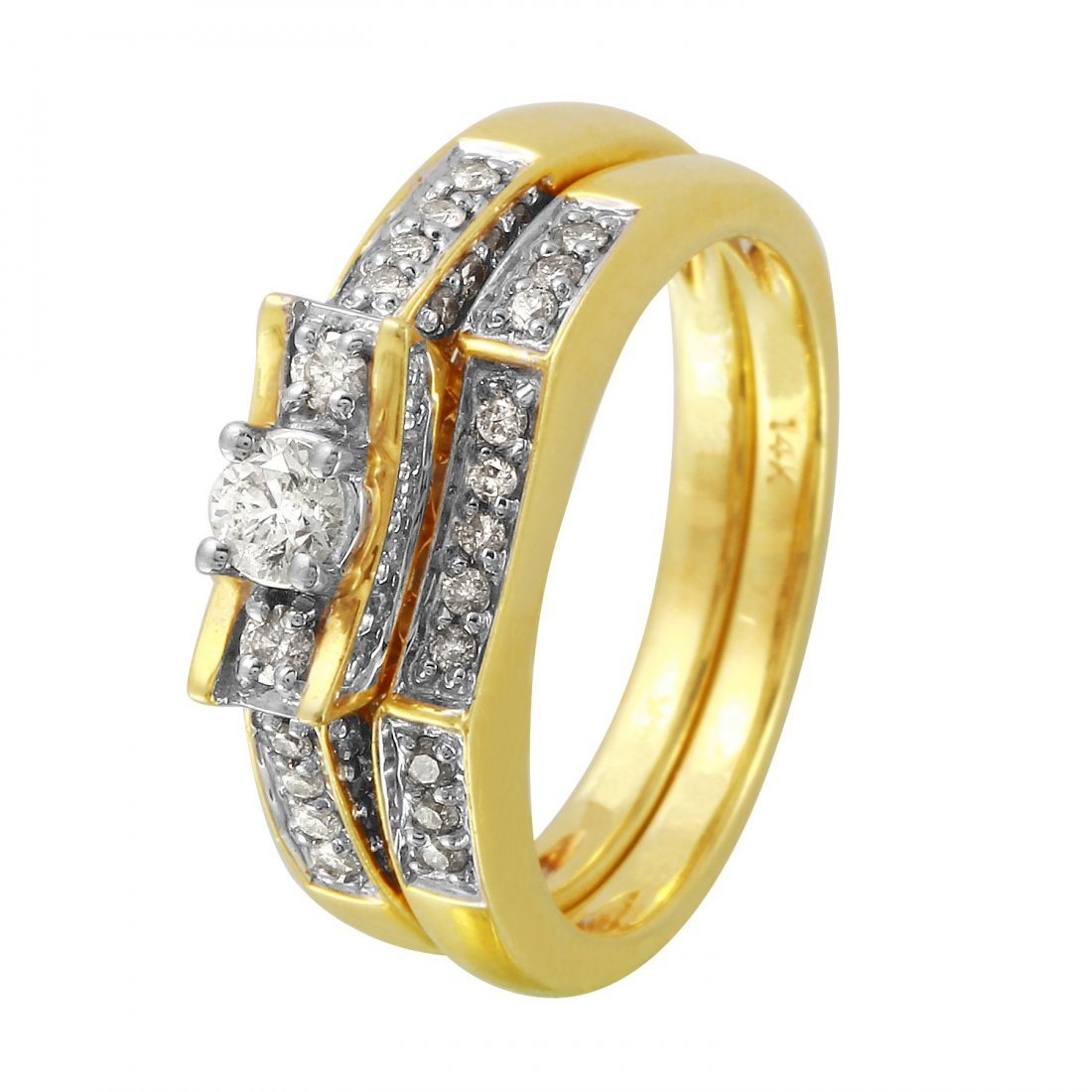 Ladies 0.86CTW Diamond 14K Yellow Gold Ring