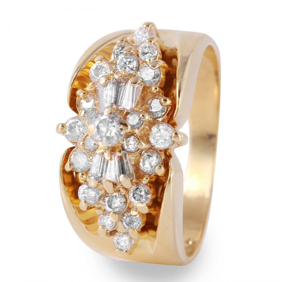 Ladies 0.75CTW Diamond 14K Yellow Gold Ring