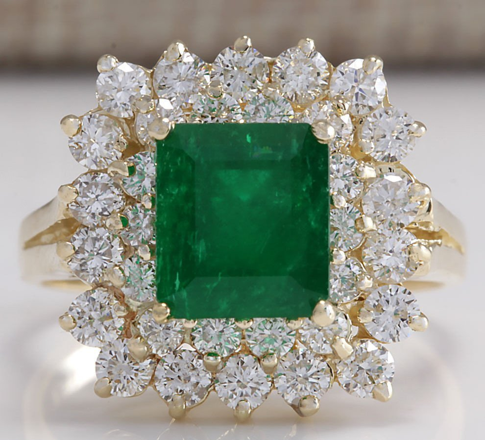 2.87CTW Natural Emerald And Diamond Ring 14K Solid