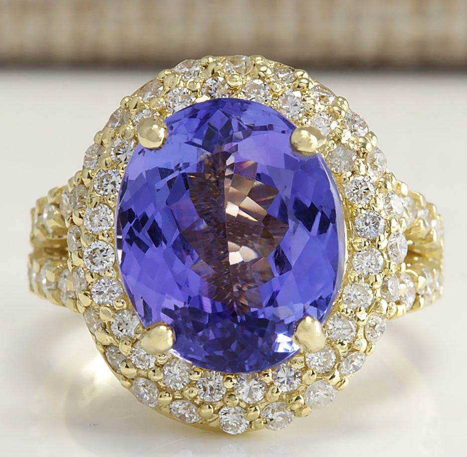 8.54 CTW Natural Tanzanite And Diamond Ring In 14K