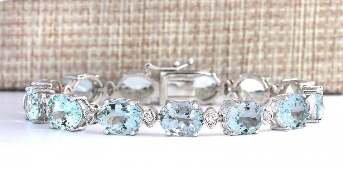 35.75 CTW Natural Aquamarine And Diamond Bracelet In