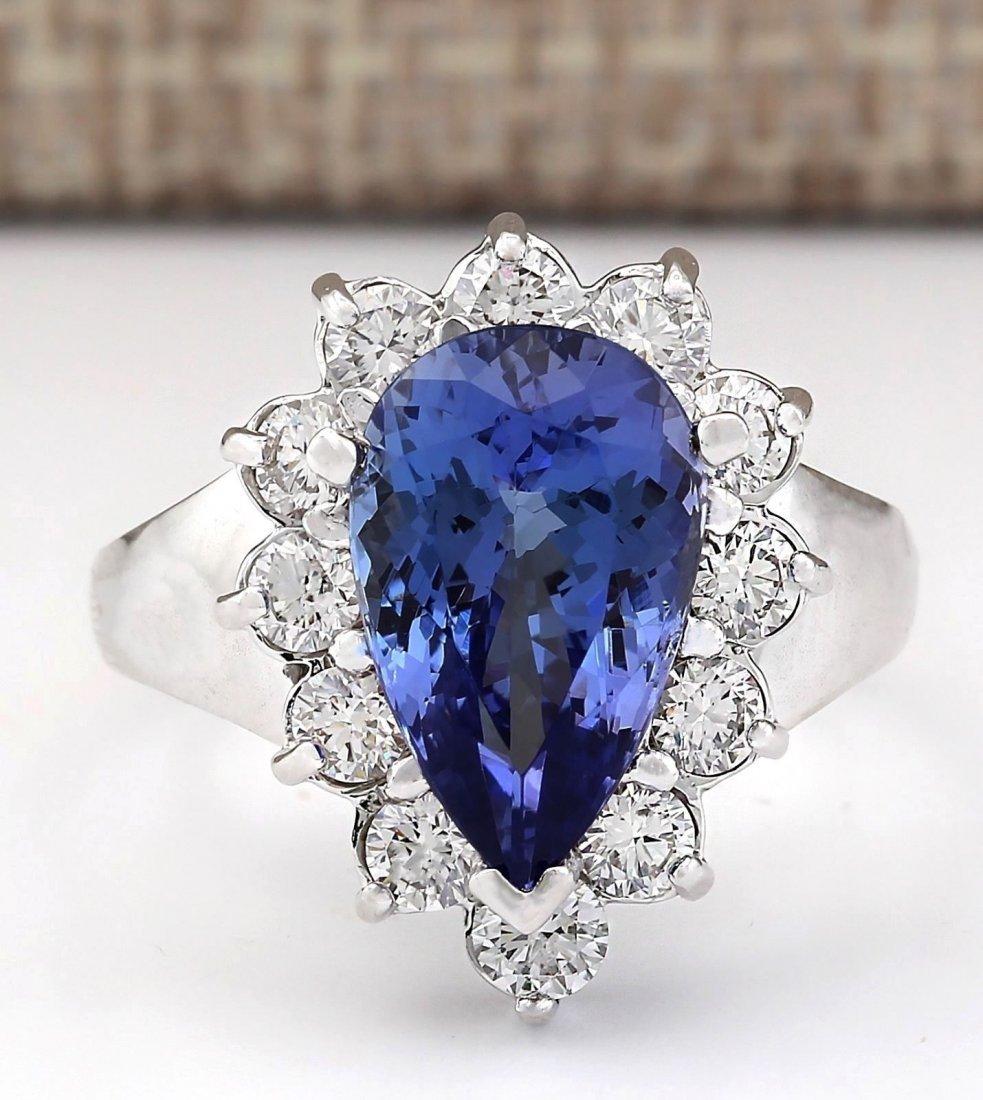 4.92 CTW Natural Blue Tanzanite And Diamond Ring 14k