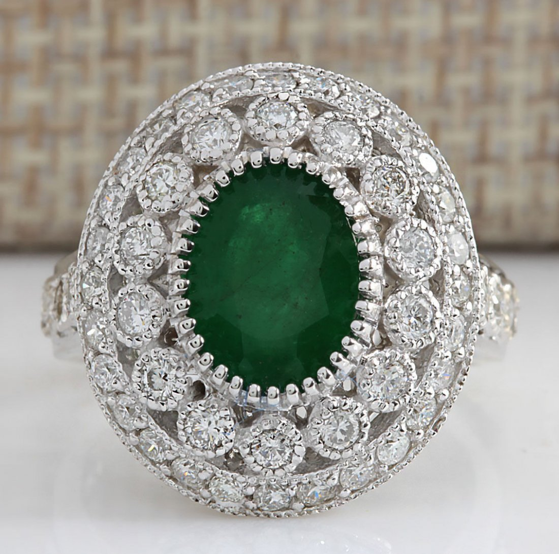 3.09CTW Natural Emerald And Diamond Ring In 14K White