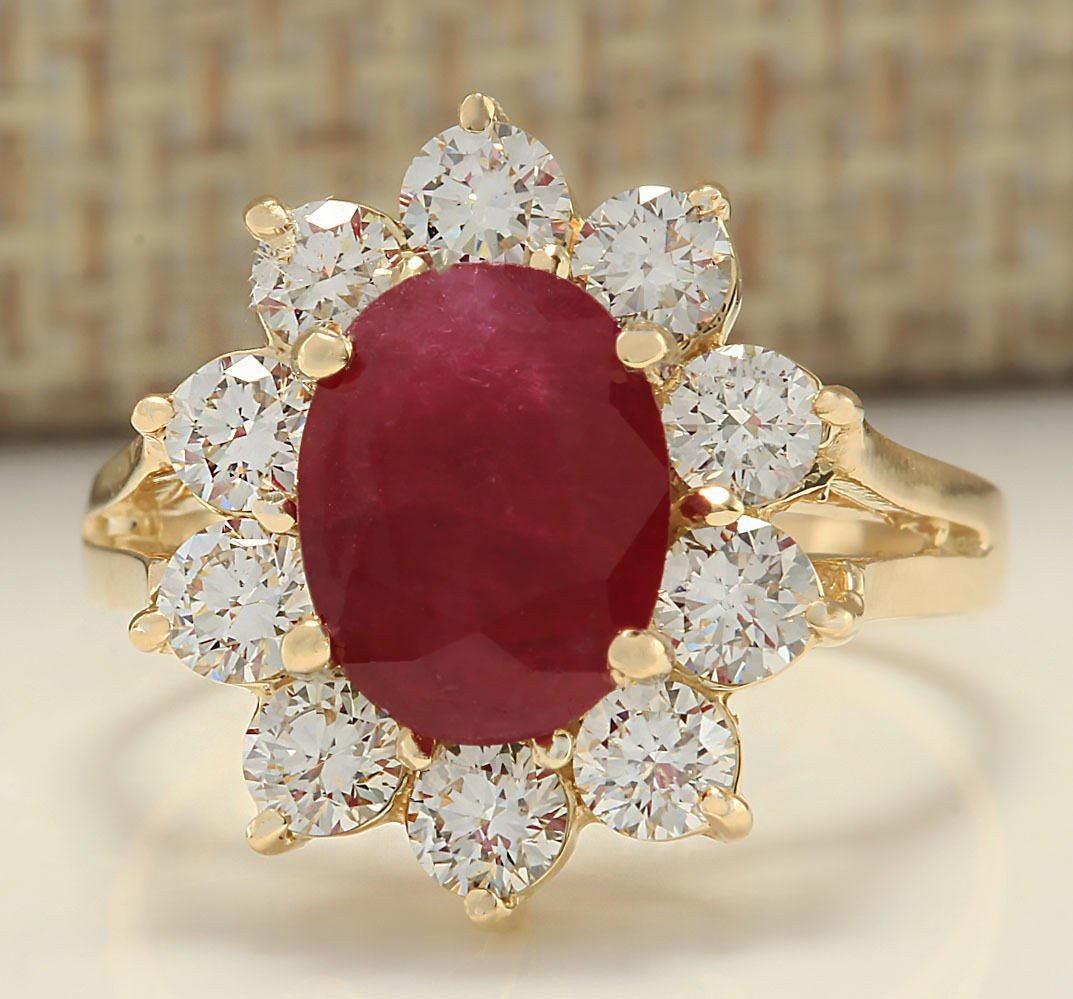 3.55 CTW Natural Ruby And Diamond Ring In 14k Yellow