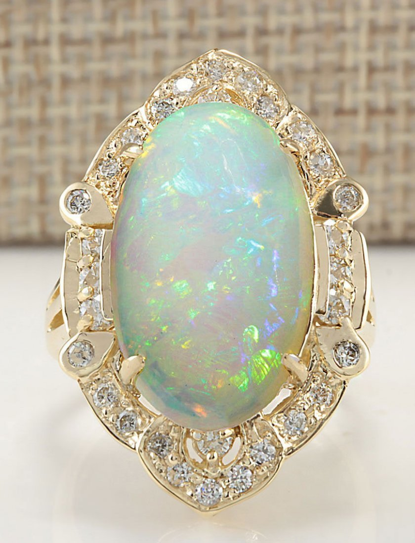 9.05 CTW Natural Opal And Diamond Ring In 14k Yellow