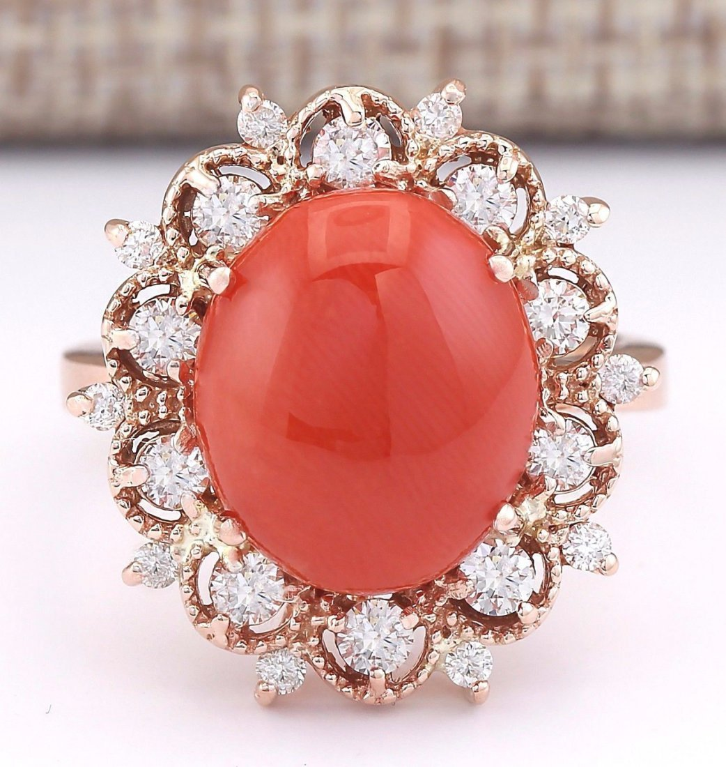 7.18 CTW Natural Coral And Diamond Ring In 14k Rose