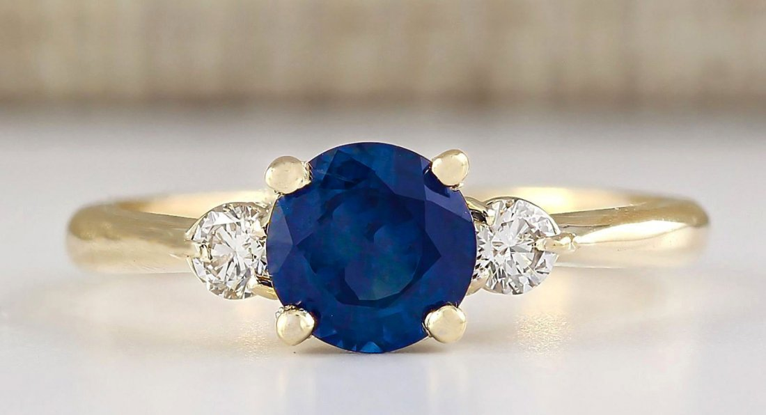 1.40 CTW Natural Sapphire And Diamond Ring In 14k