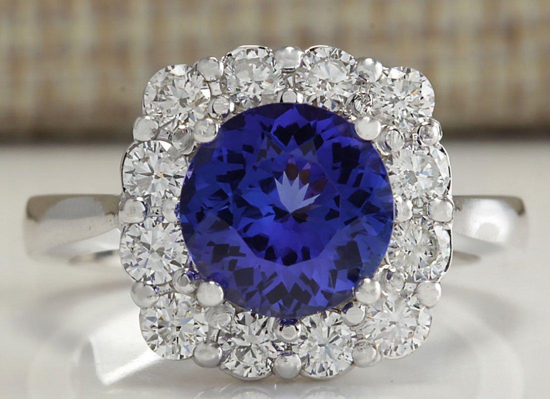 3.60CTW Natural Blue Tanzanite And Diamond Ring 14K