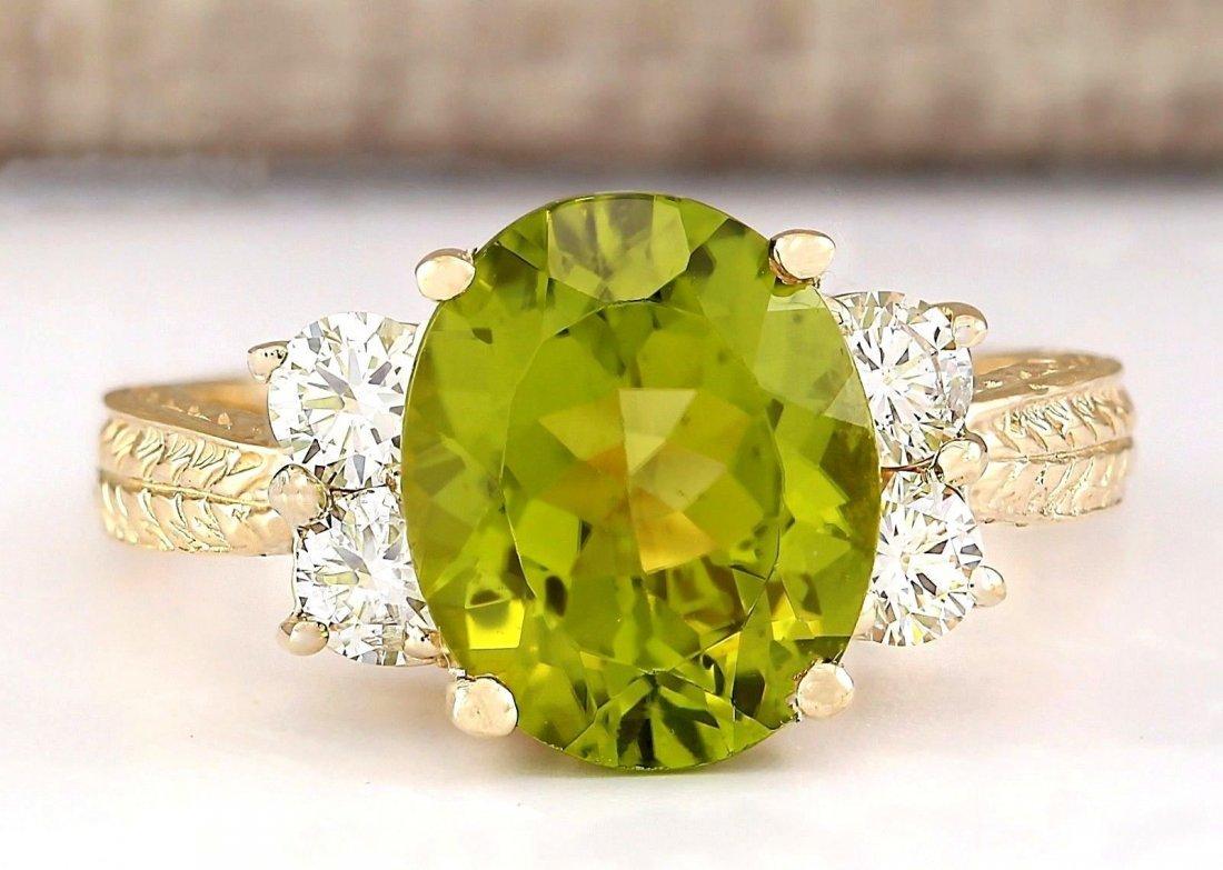 4.31 CTW Natural Peridot And Diamond Ring In 14k Yellow