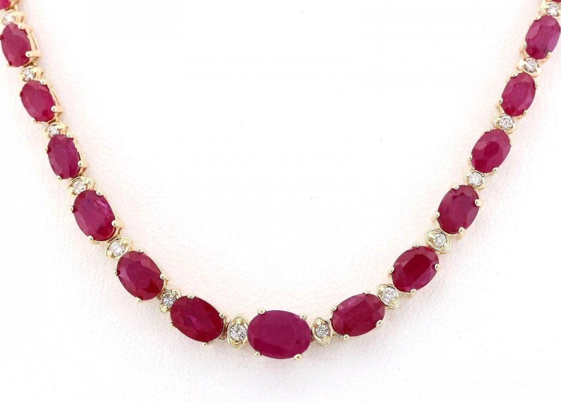 33.20 CTW Natural African Ruby And Diamond Necklace In