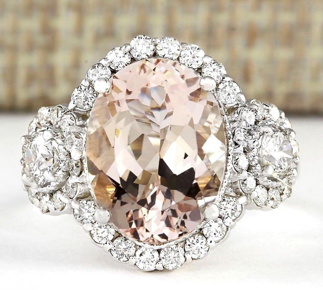 5.64 CTW Natural Morganite And Diamond Ring In 14k