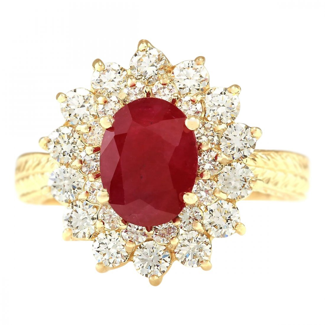 3.16 CTW Natural Ruby And Diamond Ring In 14k Yellow
