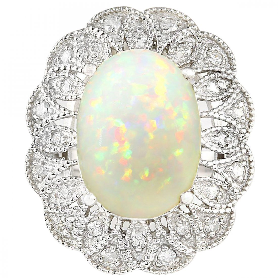 6.32 CTW Natural Opal And Diamond Ring In 14k White