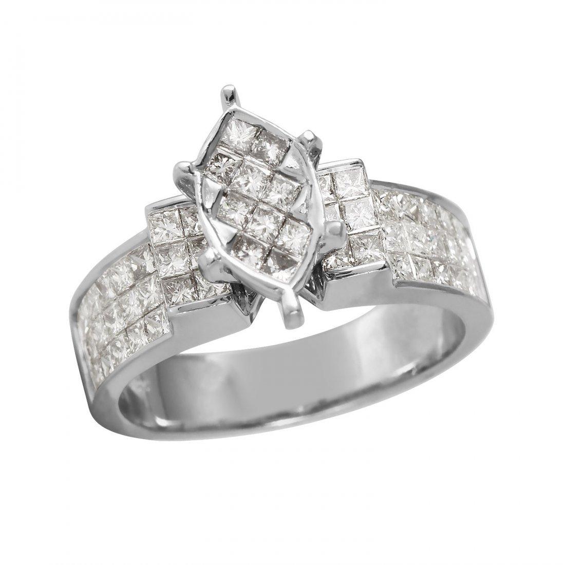 Ladies 1.62CTW Diamond 14K White Gold Ring