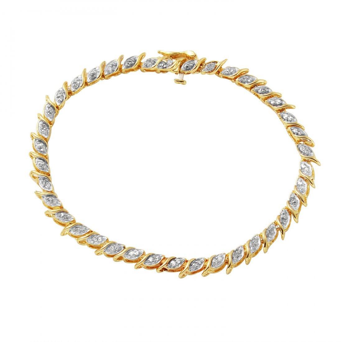 Ladies 0.57CTW Diamond 14K Two tone Gold Bracelet