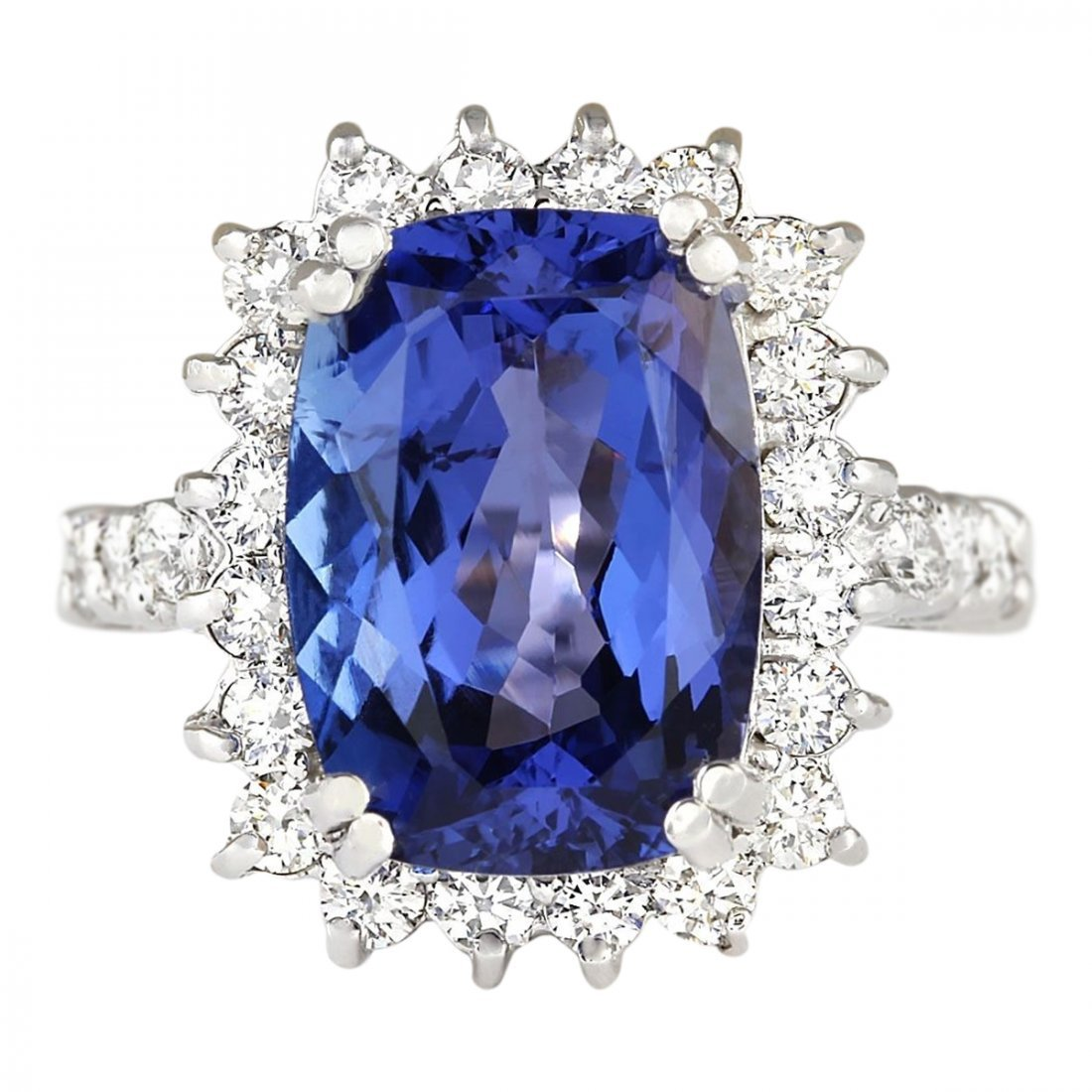 6.99 CTW Natural Blue Tanzanite And Diamond Ring 14k