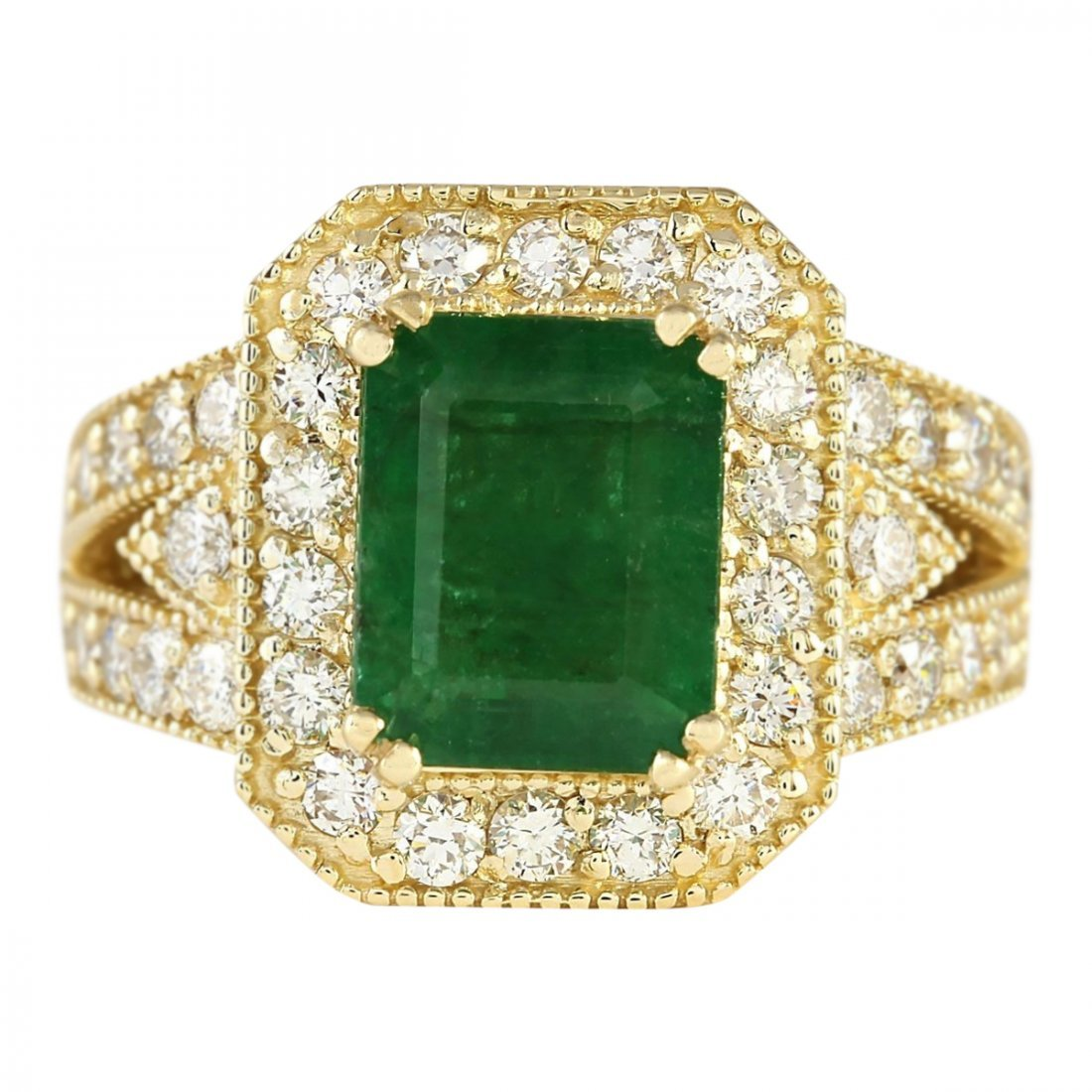 4.83 CTW Natural Emerald And Diamond Ring In 14k Yellow