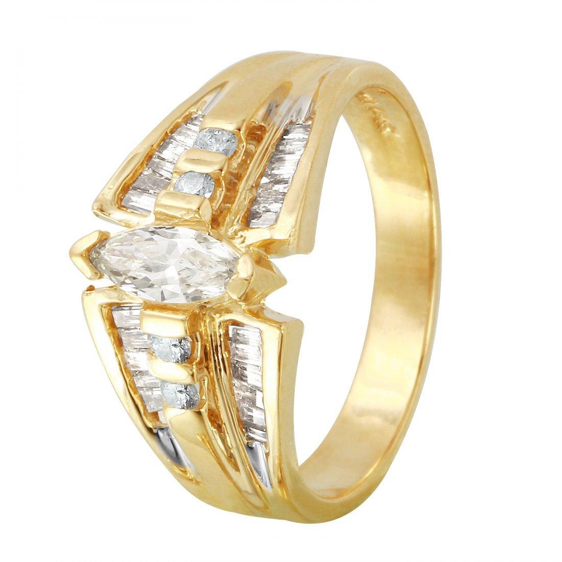 Ladies 0.97CTW Diamond 14K Yellow Gold Ring