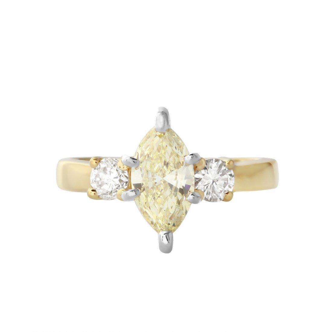 Ladies 1.19CTW Diamond 14K Yellow Gold Ring