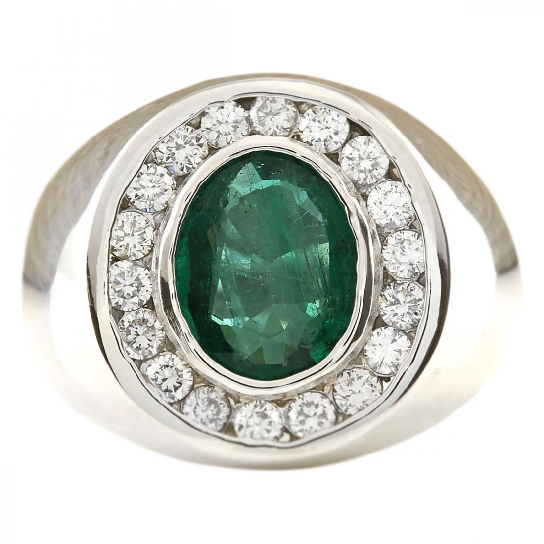3.82 CTW Natural Emerald And Diamond Ring In 14k White