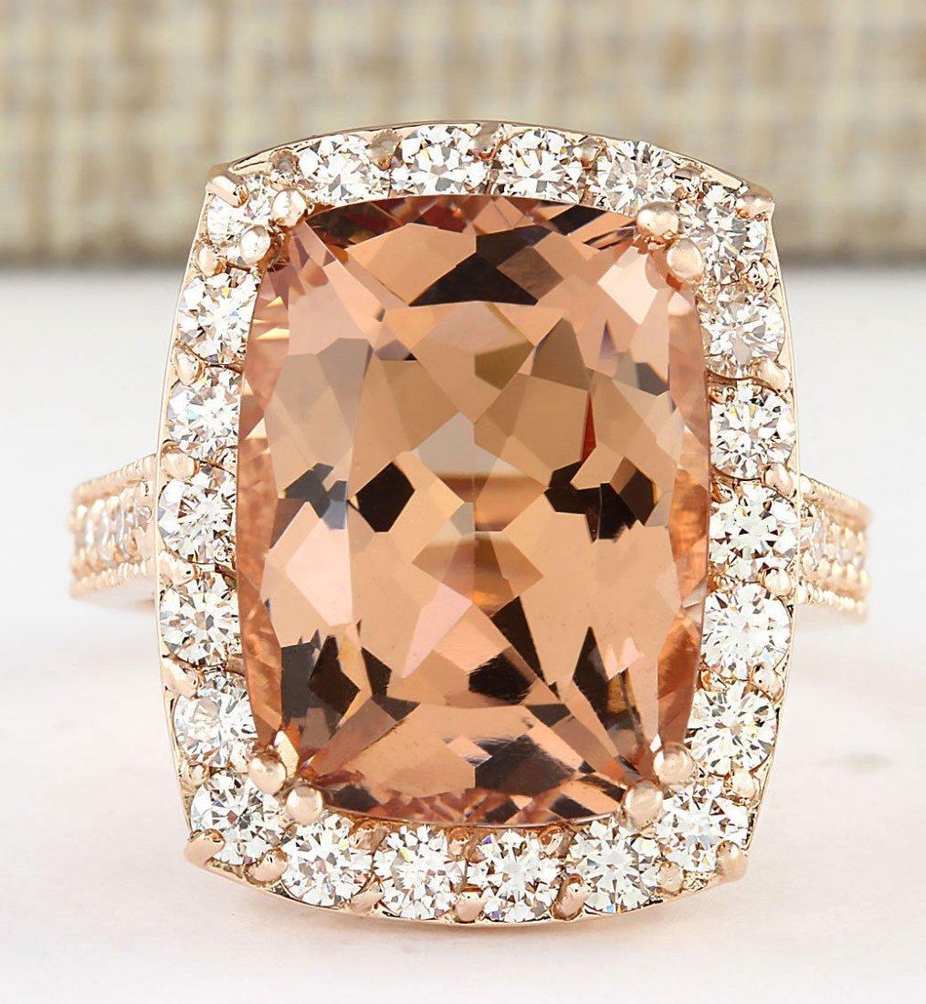 11.46 CTW Natural Morganite And Diamond Ring In 14k