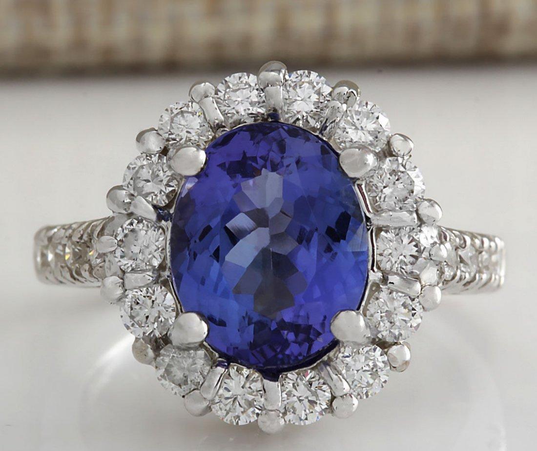 4.68CTW Natural Blue Tanzanite And Diamond Ring 14K