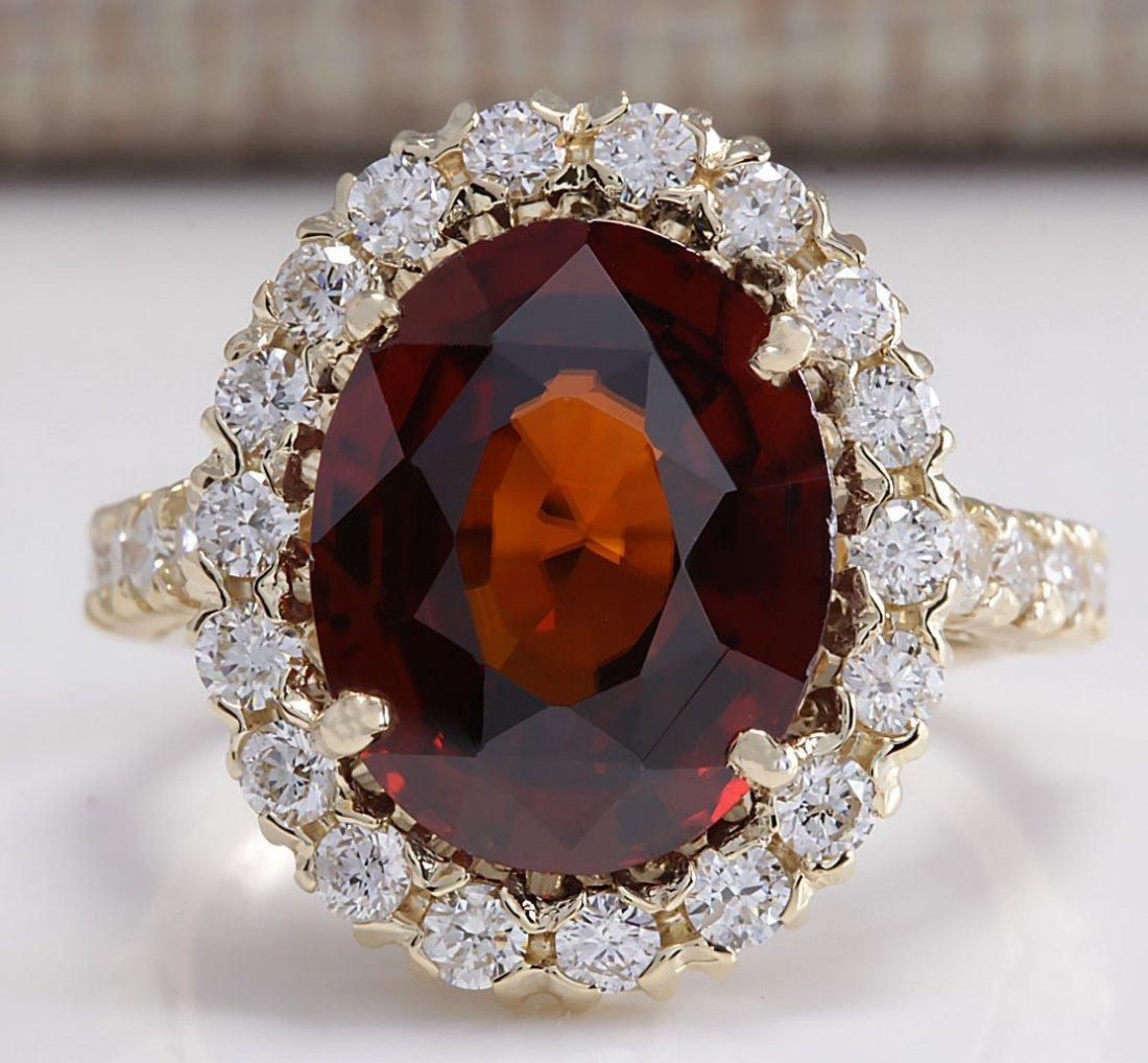 10.43CTW Natural Hessonite Garnet And Diamond Ring 14K
