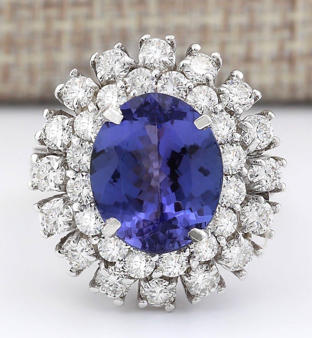 8.89 CTW Natural Blue Tanzanite And Diamond Ring 14k