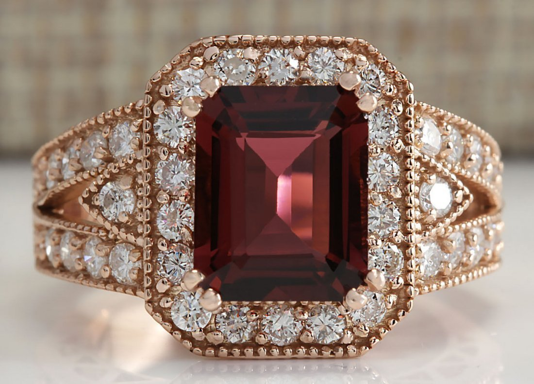 3.89CTW Natural Pink Tourmaline And Diamond Ring 14K