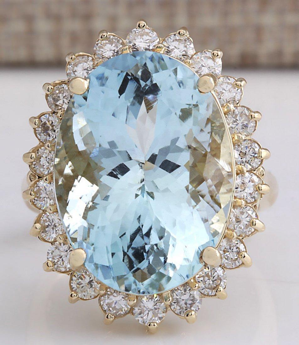 15.08CTW Natural Aquamarine And Diamond Ring In 14K
