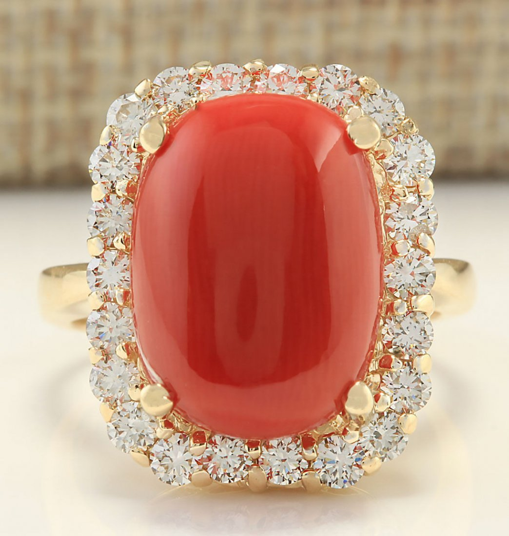 10.13 CTW Natural Coral And Diamond Ring In 14k Yellow
