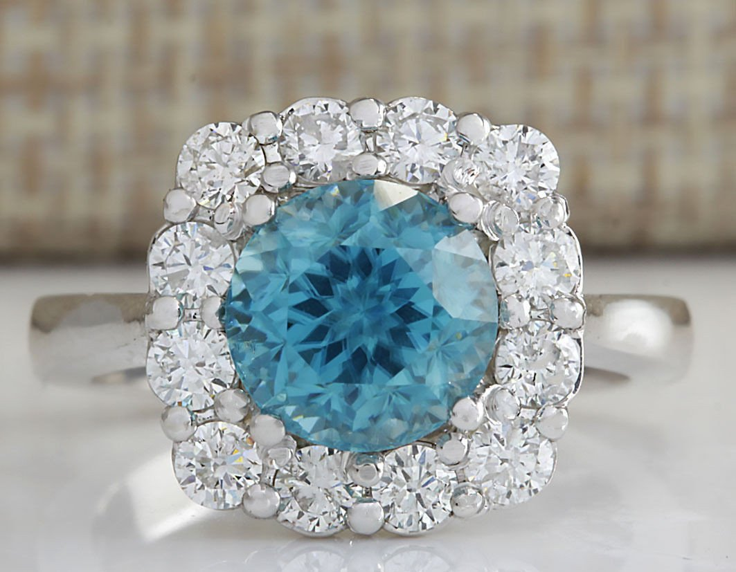 5.33CTW Natural Blue Zircon And Diamond Ring 14K Solid