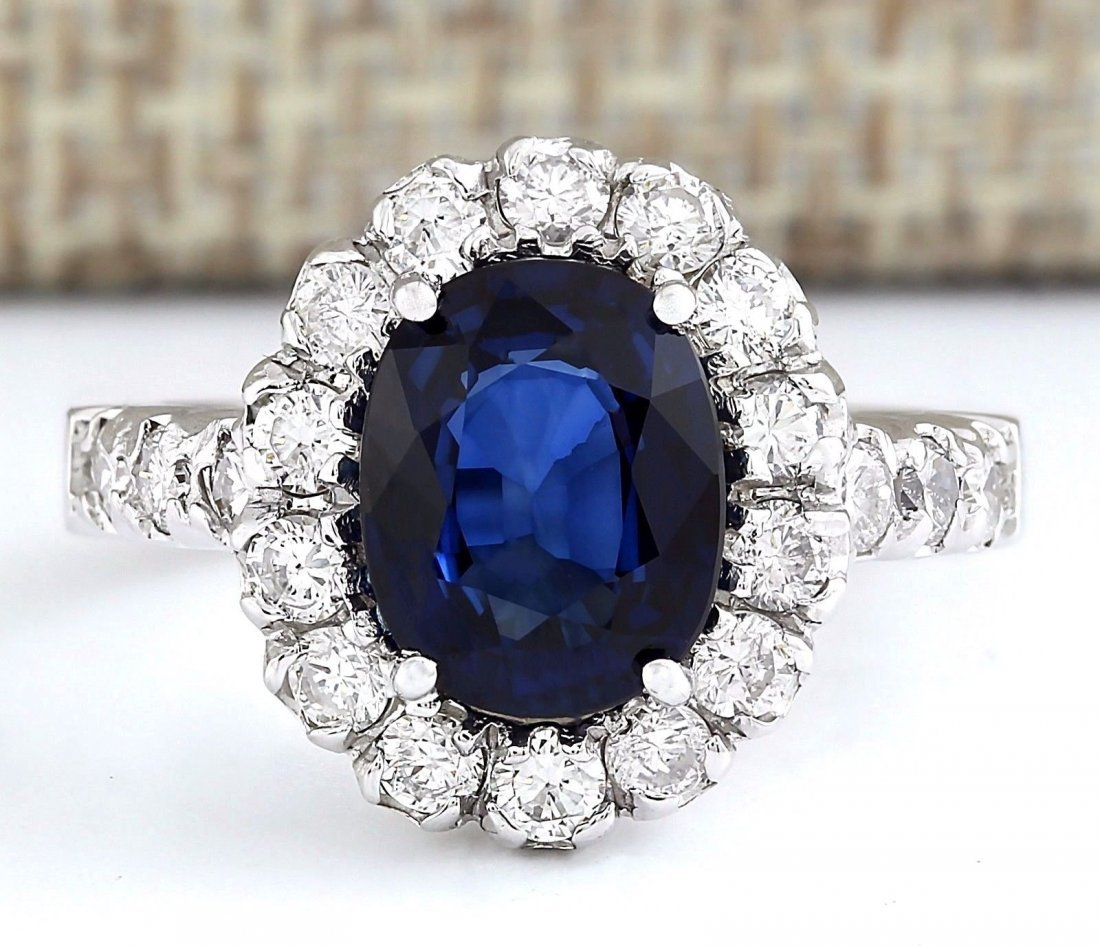 3.35 CTW Natural Blue Sapphire And Diamond Ring In 14k