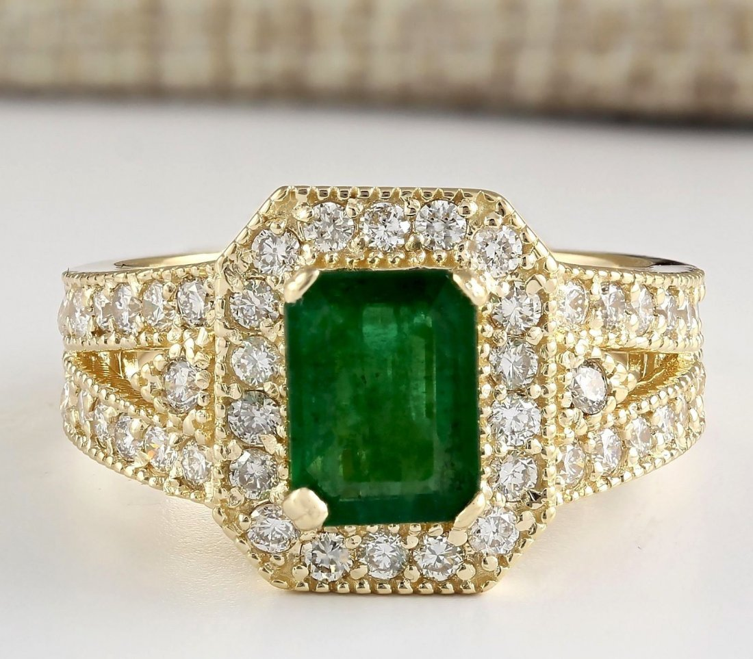 2.60 CTW Natural Emerald And Diamond Ring In 14k Yellow
