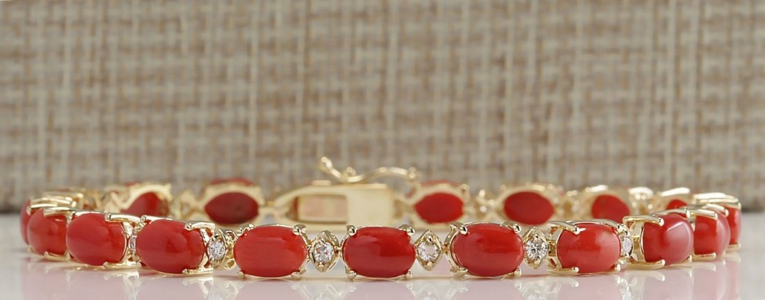17.47CTW Natural Red Coral And Diamond Bracelet In 14K