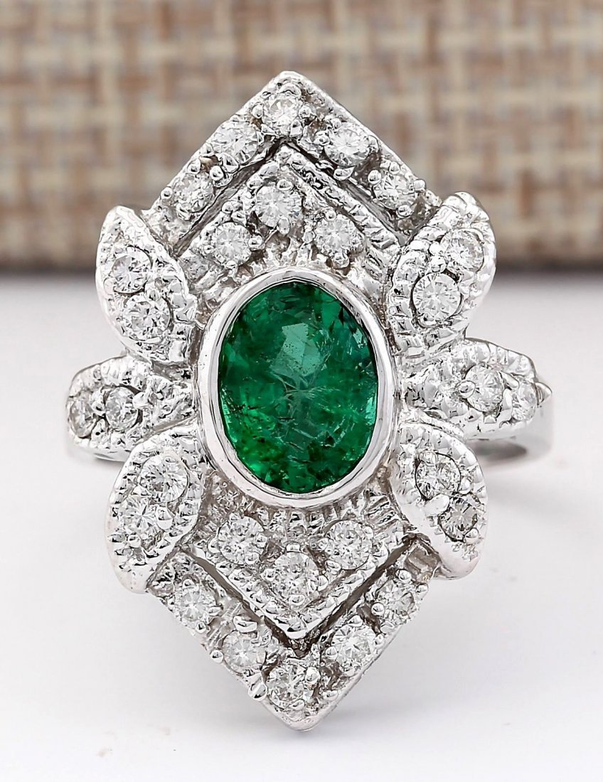 2.50 CTW Natural Emerald And Diamond Ring In 14k White