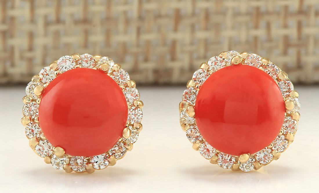 3.65 CTW Natural Coral And Diamond Earrings 14k Solid