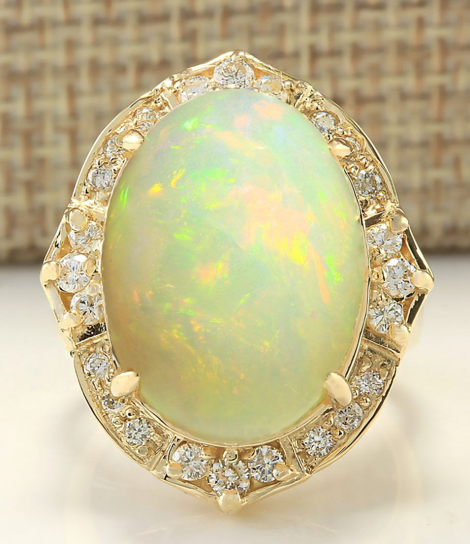 10.50CTW Natural Opal And Diamond Ring In 14K Yellow
