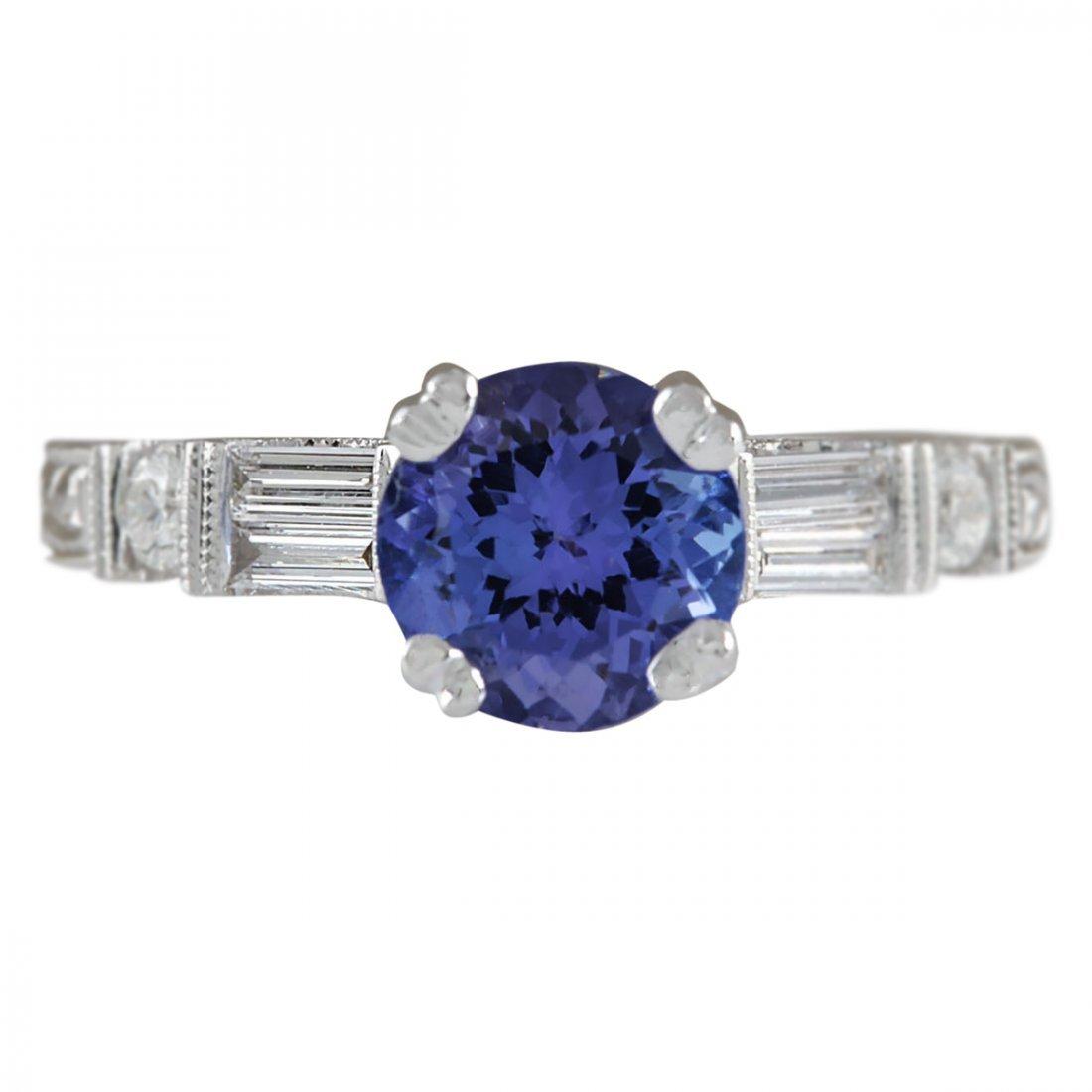 2.36 CTW Natural Blue Tanzanite And Diamond Ring 14K