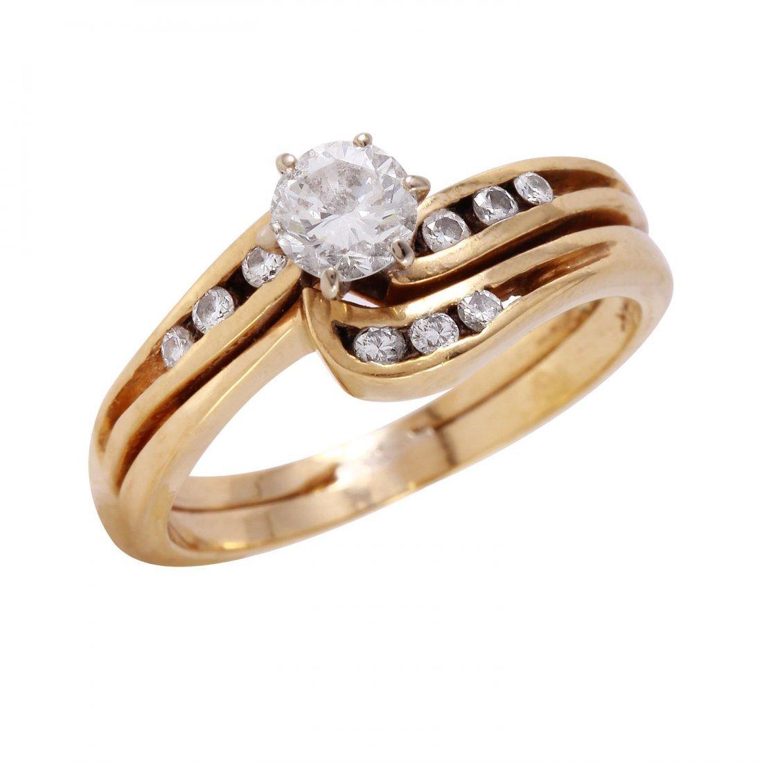 Ladies 0.44CTW Diamond 14K Yellow Gold Ring