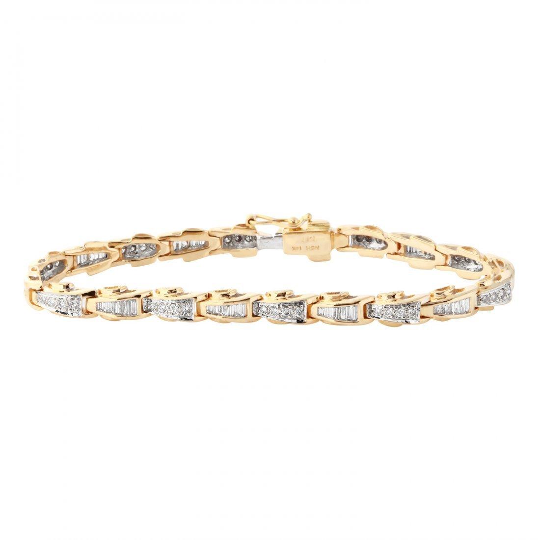Ladies 1.51CTW Diamond  14K Yellow Gold Bracelet