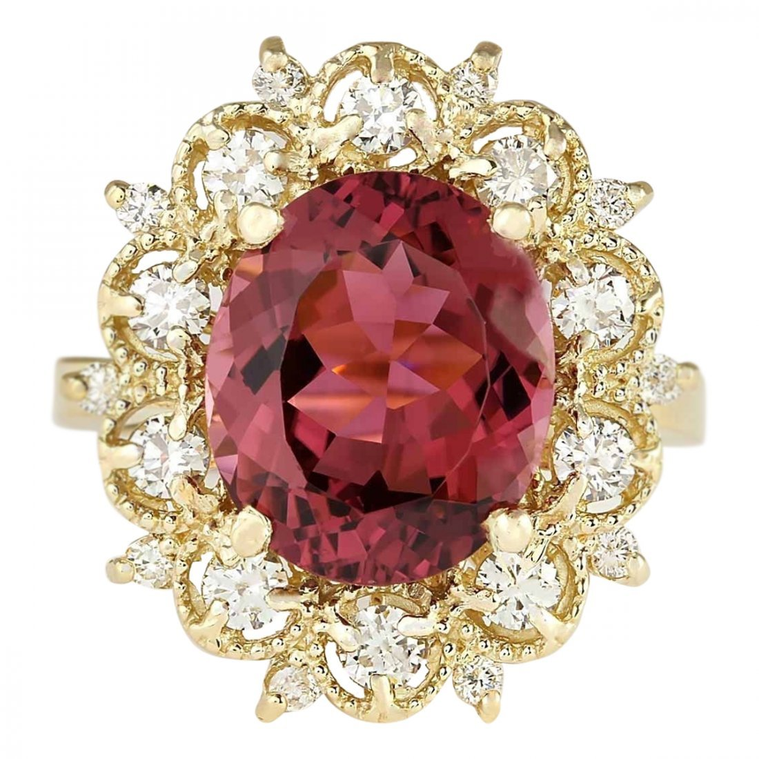 6.60 CTW Natural Pink Tourmaline And Diamond Ring In14k