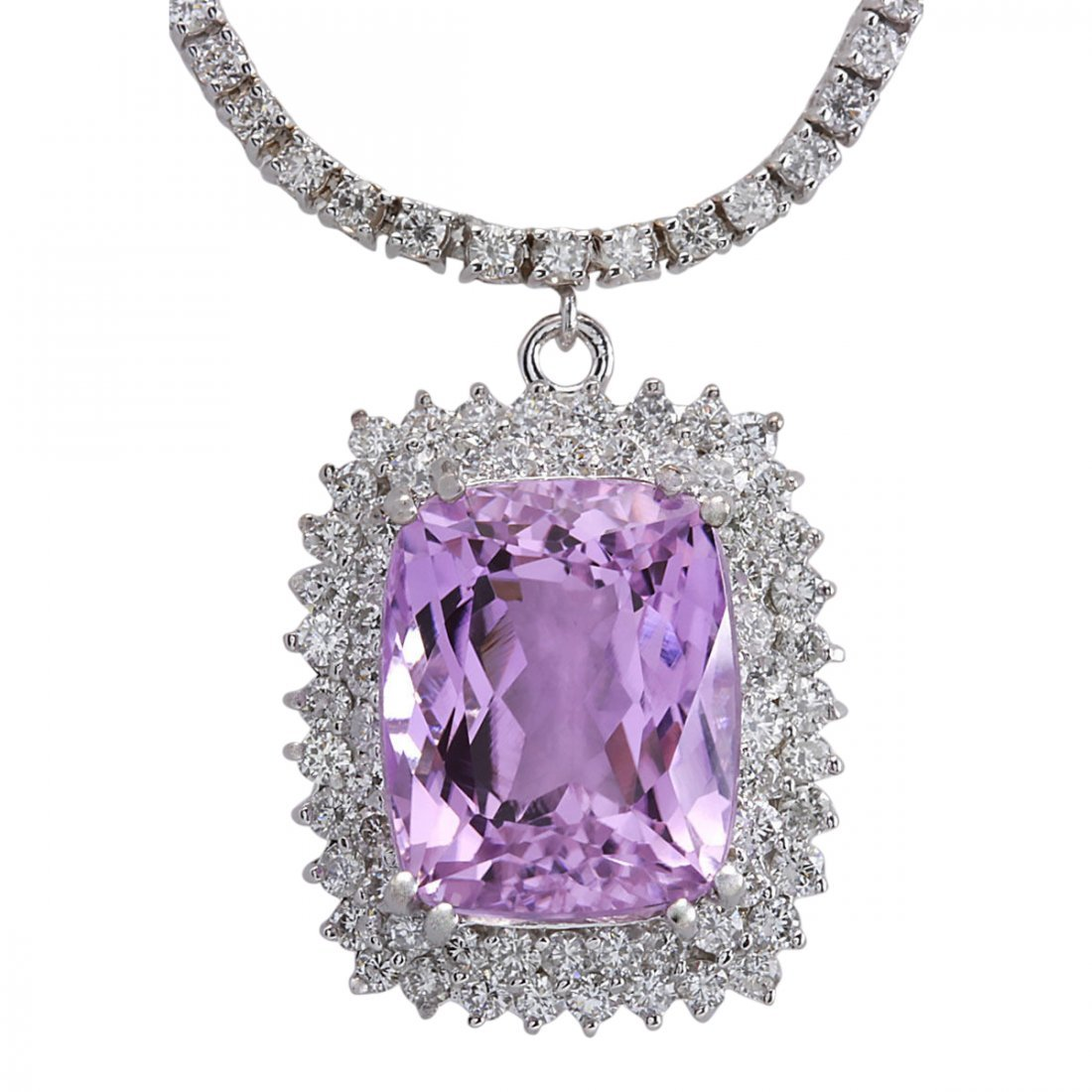 24.17 CTW Natural Kunzite And Diamond Necklace In 14K