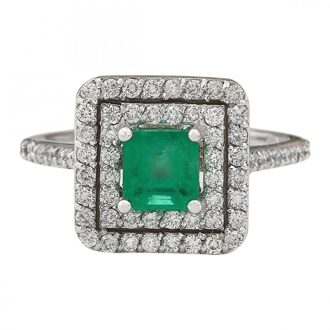 1.70 CTW Natural Emerald And Diamond Ring In 14k White