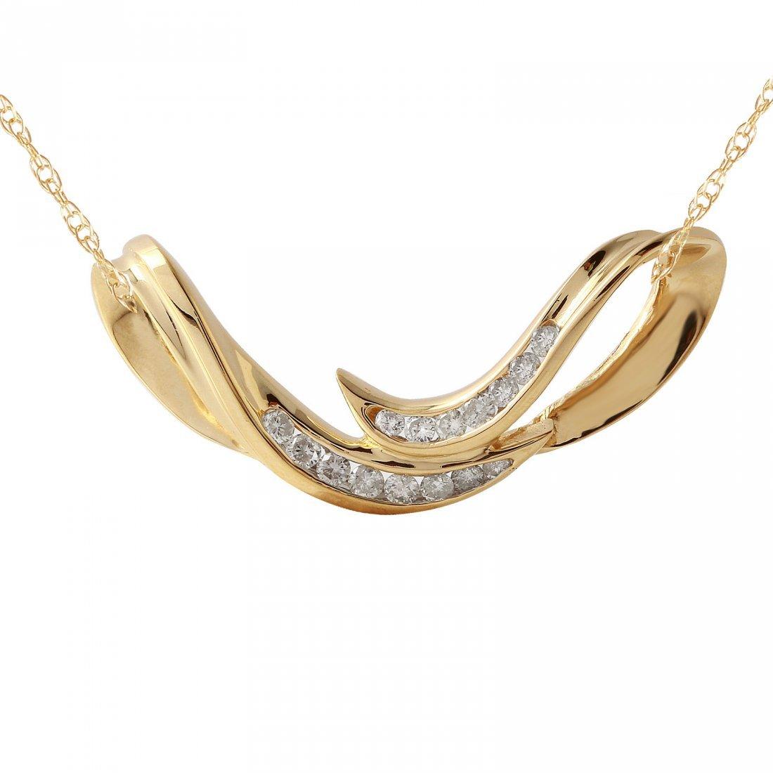 Ladies 0.67CTW Diamond 14K Yellow Gold Necklace
