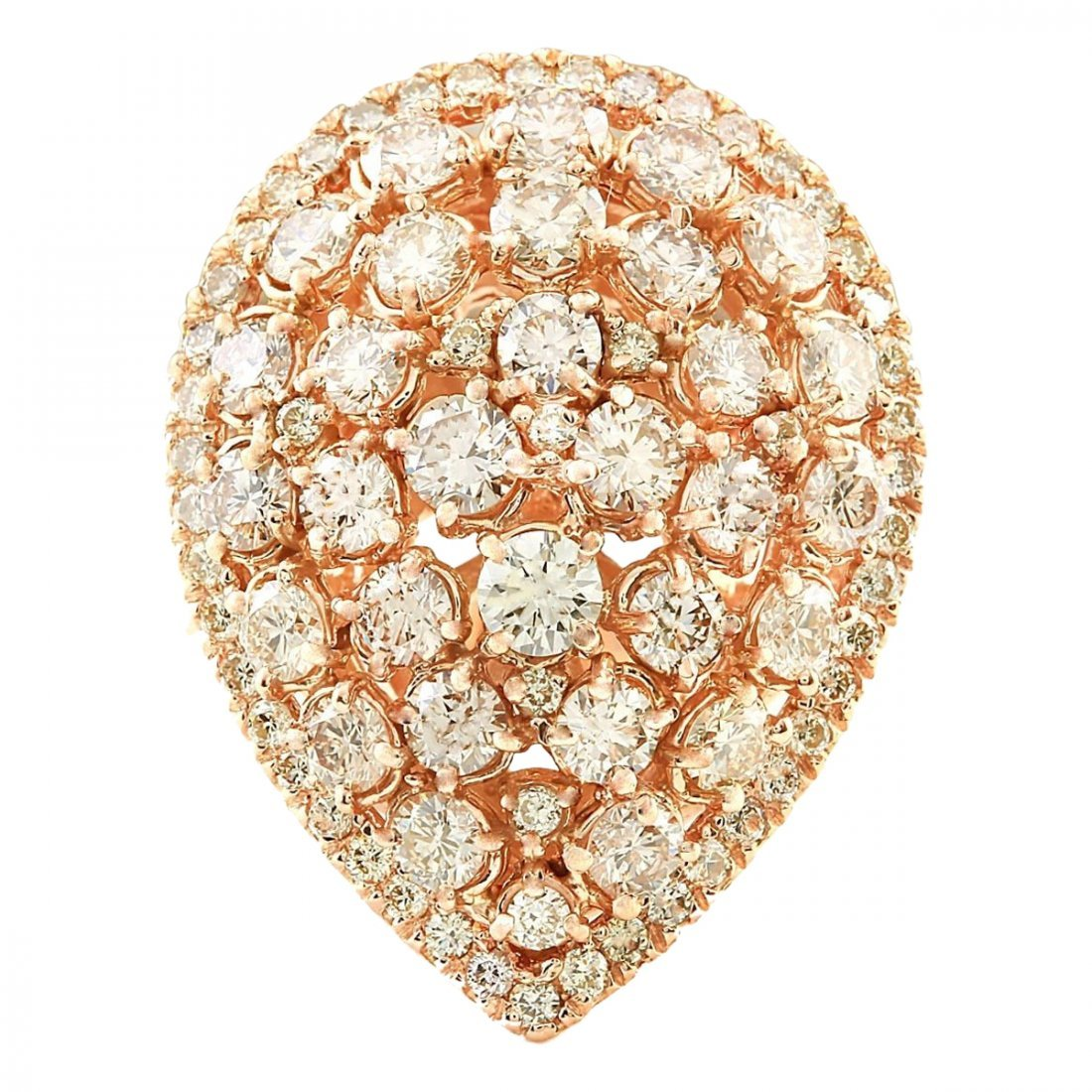 3.70 CTW Natural Diamond Ring In14k Solid Rose Gold
