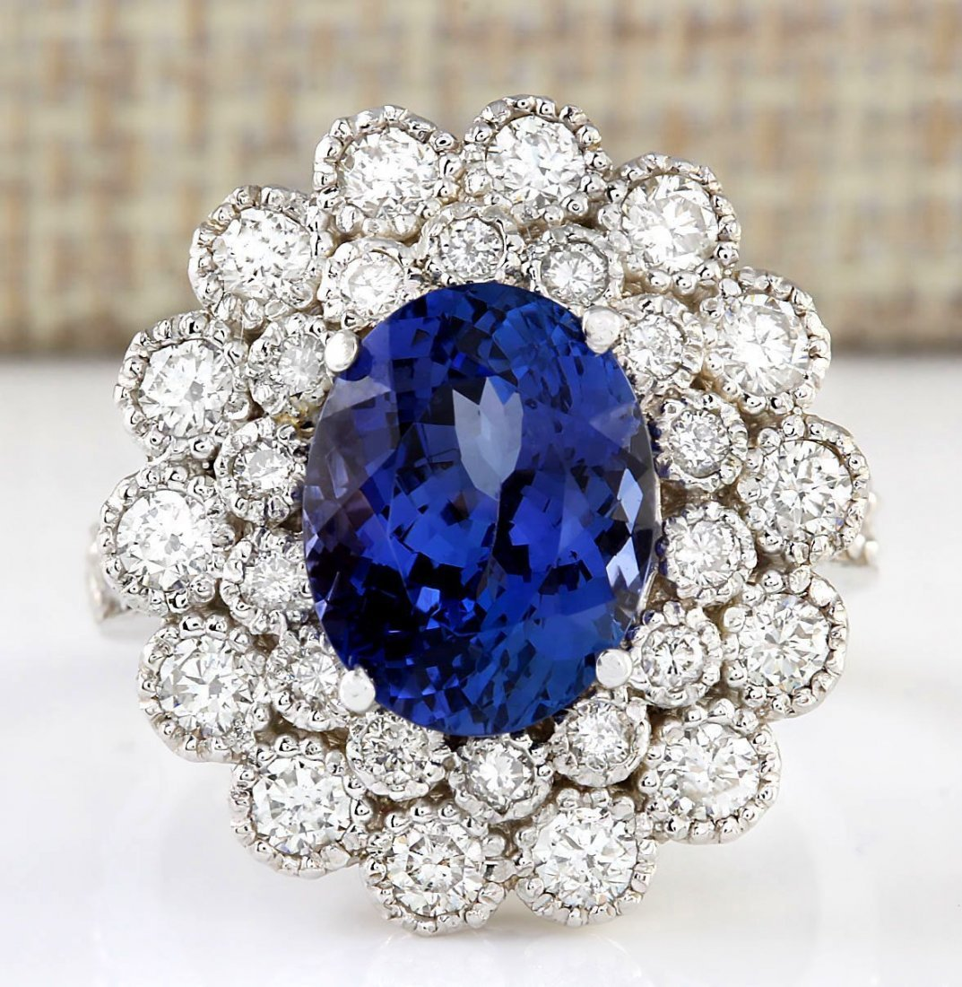 5.51 CTW Natural Blue Tanzanite And Diamond Ring 14k
