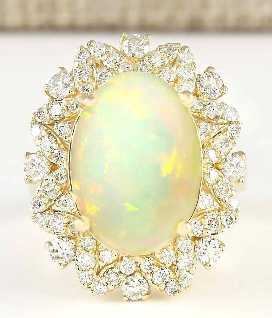 7.68 CTW Natural Opal And Diamond Ring In 14k Yellow