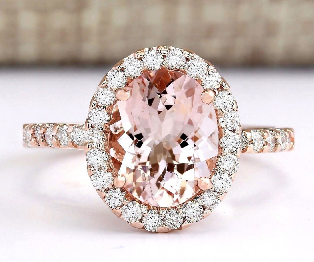 2.67 CTW Natural Morganite And Diamond Ring In 14k Rose