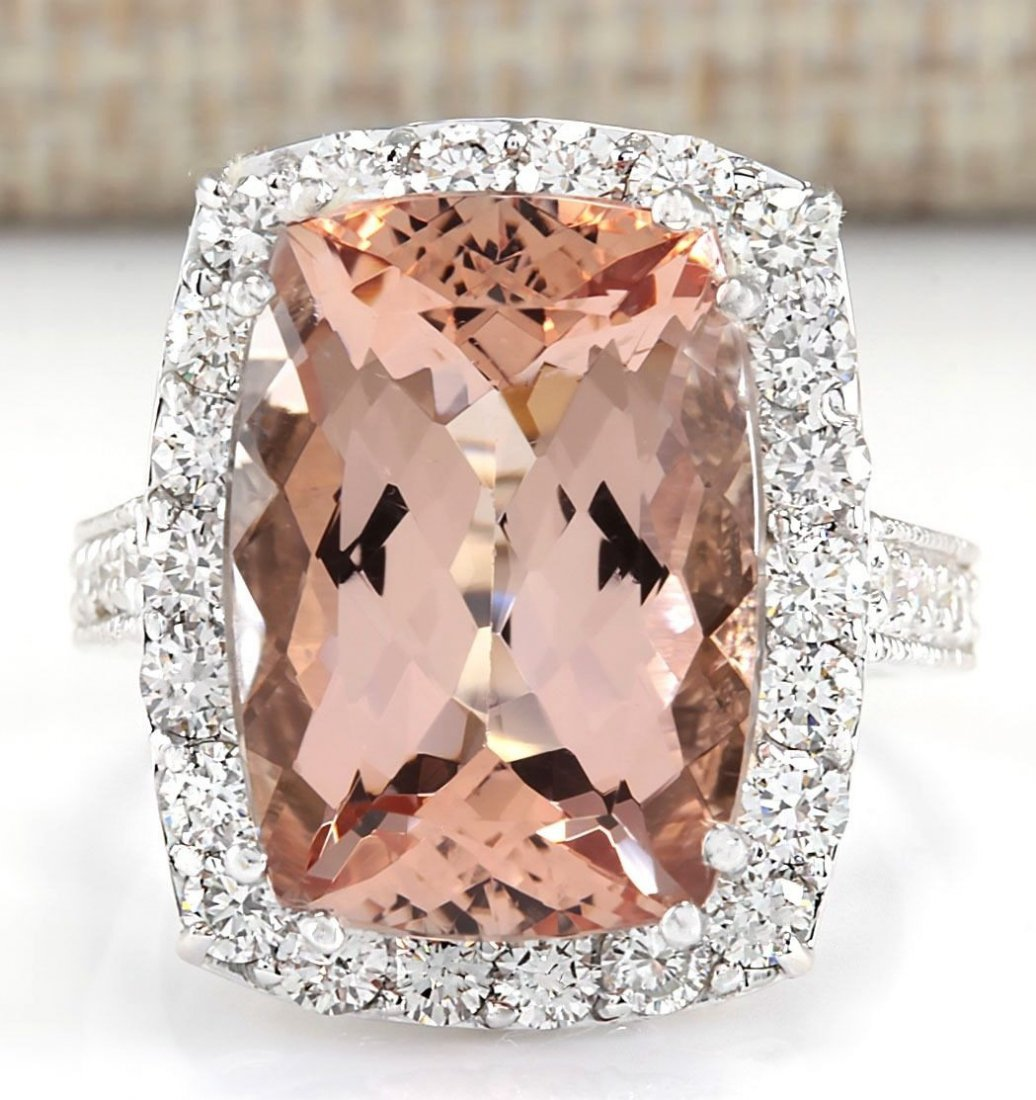 11.92 CTW Natural Morganite And Diamond Ring In 14k